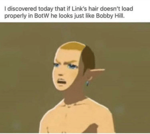Bobby Hill, Hair, and Today: I discovered today that if Link's hair doesn't load  properly in BotW he looks just like Bobby Hill. Thats my purse! I dont know you!