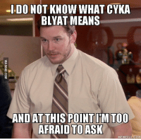 Cyka: -I DO NOT KNOW WHAT CYKA  BLYAT MEANS  AND AT THIS POINT IMTOo  AFRAID TO ASK  MEMEFUL COM