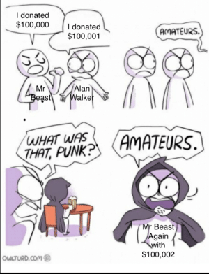 Mr Beast is a Beast: I donated  $100,000  I donated  $100,001  AMATEURS.  Alan  Walker  Mr  Beast  WHAT WAS  THAT, PUNK?  AMATEURS  Mr Beast  Again  with  $100,002  OWLTURD.COM Mr Beast is a Beast