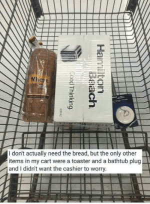 Cart: I don't actually need the bread, but the only other  items in my cart were a toaster and a bathtub plug  and I didn't want the cashier to worry.