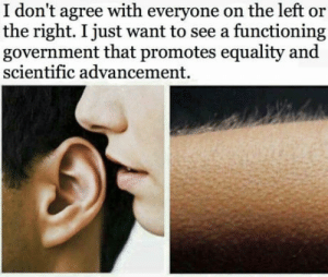 I know right?: I don't agree with everyone on the left or  the right. I just want to see a functioning  government that promotes equality and  scientific advancement. I know right?
