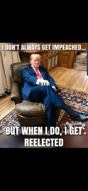 Found on r/Conservative: I DON'T ALWAYS GET IMPEACHED..  @DONALDTRUMP 2020,  BUT WHEN I DO, 1 GET.  REELECTED Found on r/Conservative