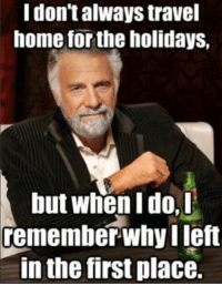 Christmas, Home, and Travel: I don't always travel  home for the holidays,  but when I do,D  remember-why left  in the first place. Unhappy Christmas