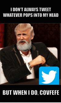 i dont always: I DON'T ALWAYS TWEET  WHATEVER POPS INTO MY HEAD  BUT WHEN I DO, COVFEFE