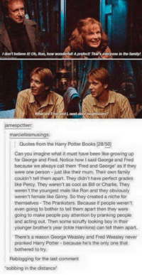 a niche: I don't believe itt On, Ron, how wonderfult A prefectt That's everyone in the family!  gh  jamespctterr  marciellesmusings:  Quotes from the Harry Potter Books (28/50  Can you imagine what it must have been like growing up  for George and Fred. Notice how I said George and Fred  because we always call them Fred and George' as if they  were one person - just like their mum. Their own family  couldn't tell them apart. They didn't have perfect grades  like Percy. They weren't as cool as Bill or Charlie. They  weren't the youngest male like Ron and they obviously  weren't female like Ginny. So they created a niche for  themselves The Pranksters. Because if people weren't  even going to bother to tell them apart then they were  going to make people pay attention by pranking people  and acting out. Then some scruffy looking boy in their  younger brother's year (ckle Harrikins) can tell them apart.  There's a reason George Weasley and Fred Weasley never  pranked Harry Potter because he's the only one that  bothered to try.  Reblogging for the last comment  sobbing in the distance