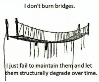 "Fail, Tumblr, and Blog: I don't burn bridges.  I just fail to maintain them and let  hem structurally degrade over time. <p><a href=""http://memehumor.net/post/166433841226/maybe-worse"" class=""tumblr_blog"">memehumor</a>:</p>  <blockquote><p>Maybe Worse</p></blockquote>"