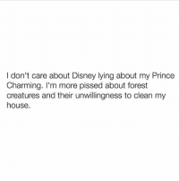 Disney, Memes, and My House: I don't care about Disney lying about my Prince  Charming. I'm more pissed about forest  creatures and their unwillingness to clean my  house. I'm not impressed 😒 goodgirlwithbadthoughts 💅🏼