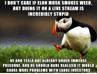 Dank, Pressure, and Snoop: I DON'T CARE IF ELON MUSK SMOKES WEED,  BUT DOING IT ON A LIVE STREAM IS  INCREDIBLY STUPID  HE AND TESLA ARE ALREADY UNDER IMMENSE  PRESSURE, AND HE SHOULD HAVE REALIZED IT WOULD  CAUSE MORE PROBLEMS WITH LARGE INVESTORS  naue on imgur $3.4 billion market cap lost in one puff.  Even Snoop cant afford weed that dank.