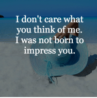 don't care: I don't care what  you think of me.  I was not born to  impress you.