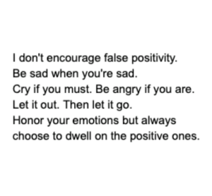 💯: I don't encourage false positivity.  Be sad when you're sad.  Cry if you must. Be angry if you are  Let it out. Then let it go.  Honor your emotions but always  cho ones  ose to dwell on the positive 💯