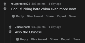"""""""I don't hate the Chinese people, only the Chinese government!!"""": """"I don't hate the Chinese people, only the Chinese government!!"""""""