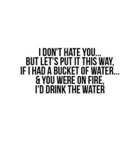 http://iglovequotes.net/: I DON'T HATE YOU  BUT LET'S PUT IT THIS WAY  IF I HAD A BUCKET OF WATER...  & YOU WERE ON FIRE  I'D DRINK THE WATER http://iglovequotes.net/