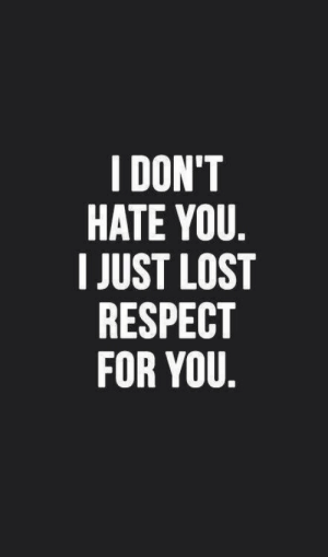 Respect, Lost, and You: I DON'T  HATE YOU  I JUST LOST  RESPECT  FOR YOU
