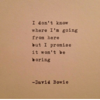 David Bowie, Bowie, and I Promise: I don't knovw  where I'm going  from here  but I promise  it won't be  boring  -David Bowie
