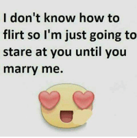 Flirt Meme: I don't know how to  flirt so I'm just going to  stare at you until you  marry me.