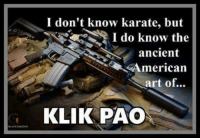 Memes, American, and Ancient: I don't know karate, but  I do know the  ancient  American  art of...  KLIK PAO Are you also well versed in this fine art?
