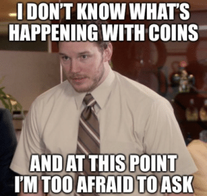Seriously: I DON'T KNOW WHAT'S  HAPPENING WITH COINS  AND AT THIS POINT  I'M TOO AFRAID TO ASK Seriously