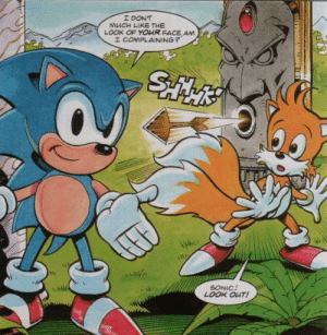And how Sonic died: I DON'T  MUCH LIKE THE  LOOK OF YOUR FACE AM  I COMPLAINING?  &MZ  SONIC!  LOOK OUT! And how Sonic died