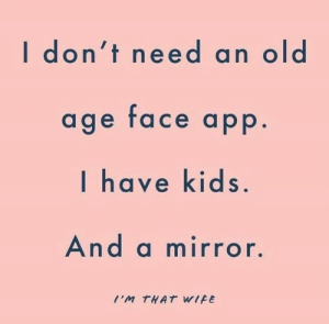 Dank, Marriage, and Kids: I don't need an old  age face app.  I have kids.  And a mirror.  I'M THAT WIFE Truth hurts. 😑  (via I'm That Wife: Marriage & Motherhood)