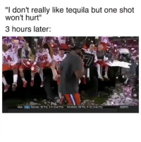 """Funny, Nba, and Tequila: """"I don't really like tequila but one shot  won't hurt""""  3 hours later:  NBA  DALİ Barnes: 30 Pts. 4-5 (3-pt FG)  Nowitzki: 26 Pts. 5-10 (3-Dl FG) Who's turning up tonight?! 😝 Song: """"F*ck It Up"""" by @Ocho_Drippin"""