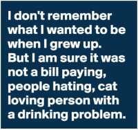drinking problem: I don't remember  what I wanted to be  when I grew up.  But l am sure it was  not a bill paying,  people hating, cat  loving person with  a drinking problem.