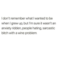 Bitch, Meme, and Memes: I don't remember what I wanted to be  when I grew up, but I'm sure it wasn't an  anxiety ridden, people hating, sarcastic  bitch with a wine problem If by wine, you mean vodka & cocaines, then yes! @vodkalana for more meme awesomeness @vodkalana @vodkalana