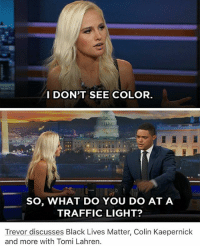 Black Lives Matter, Colin Kaepernick, and Memes: I DON'T SEE COLOR  SO, WHAT DO YOU DO AT A  TRAFFIC LIGHT?  Trevor discusses Black Lives Matter, Colin Kaepernick  and more with Tomi Lahren. When this happened i kept remembering it and laughing randomly in class