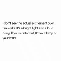 Fireworks, Fuck, and British: I don't see the actual excitement over  fireworks. It's a bright light and a loud  bang. If you're into that, throw a lamp at  your mum Fuck sake😩😂
