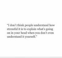 "Head, How, and Think: ""I don't think people understand how  stressful it is to explain what's going  on in your head when you don't even  understand it yourself."""