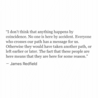 """Taken, Coincidence, and Reason: """"I don't think that anything happens by  coincidence. No one is here by accident. Everyone  who crosses our path has a message for us.  Otherwise they would have taken another path, or  left earlier or later. The fact that these people are  here means that they are here for some reason.""""  - James Redfielo"""
