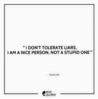 """Android, Life, and Http: I DON'T TOLERATE LIARS,  I AM A NICE PERSON, NOT A STUPID ONE""""  UNKNOWN  epic  quotes #1337  #Life Suggested by Pooja Tomar  Download our Android App : http://bit.ly/1NXVrLL Download our iOS App https://appsto.re/in/luPOcb.i"""