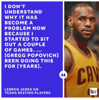 LeBron James, Target, and Games: I DON'T  UNDERSTAND  WHY IT HAS  BECOME A  PROBLEM NOW  BECAUSE I  STARTED TO SIT  OUT A COUPLE  OF GAMES  [GREGG POPOVICHI  BEEN DOING THIS  FOR YEARS  LEBRON JAMES ON  TEAMS RESTING PLAYERS  br LeBron feels he has a target on his back.