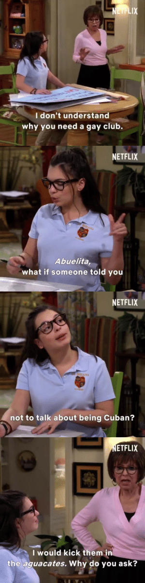 Club, Netflix, and Target: I don't understand  why you need a gay club   NETFLIX  Abuelita,  what if someone told you   NETFLIX  NA  ta  not to talk about being Cuban?   ETFLIX  Iwould kick them in  the aguacates. Why do you ask? kadenaforlife:one day at a time hasn't even aired yet and it already ended homophobia