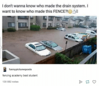 Academy, Best, and Humans of Tumblr: I don't wanna know who made the drain system. I  want to know who made this FENCE?!  funnypicturesposts  fencing academy best student  30 882 notas