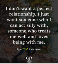 """Relationship Quotes: I don't want a perfect  relationship. I just  want someone who I  can act silly with,  someone who treats  me well and loves  being with me.  Type """"Yes"""" if you agree.  Ra  RELATIONSHIP  QUOTES Relationship Quotes"""