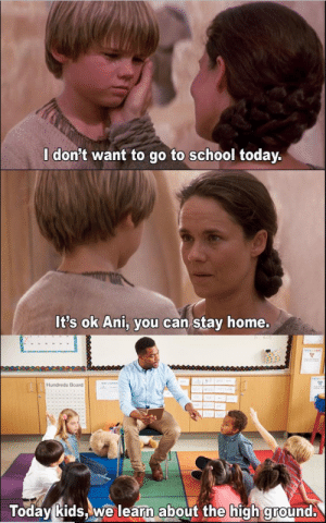 School, Home, and Kids: I don't want to go to school today.  It's ok Ani, you can stay home.  Hundreds Board  Todav kids,we learn about the high qround. noooooooooooo