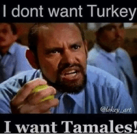 Memes, Turkey, and Mexican: I dont want Turkey  @lokey art  I want Tamales! #Mexicans be #like ➡ Mexican Problems