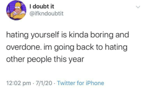 meirl: I doubt it  @ifkndoubtit  hating yourself is kinda boring and  overdone. im going back to hating  other people this year  12:02 pm · 7/1/20 · Twitter for iPhone meirl