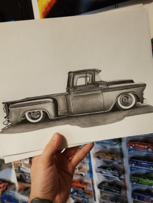 I drew a picture of a 1956 Chevrolet 3100 using 4B pencil: I drew a picture of a 1956 Chevrolet 3100 using 4B pencil