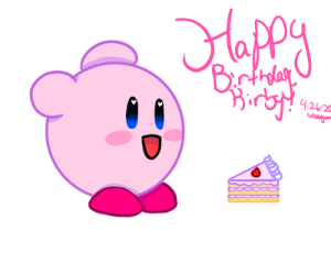 I drew our favorite pink puff since it's his birthday today. I drew him some cake as well. I didn't put much effort into this lol: I drew our favorite pink puff since it's his birthday today. I drew him some cake as well. I didn't put much effort into this lol
