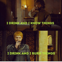 Thrones Meme: I DRINK AND I KNOW THINGs  Thrones Memes  INGS  I DRINK AND I BUR
