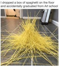 """Memes, School, and Spaghetti: I dropped a box of spaghetti on the floor  and accidentally graduated from Art school <p>How about that? via /r/memes <a href=""""https://ift.tt/2FBHBCn"""">https://ift.tt/2FBHBCn</a></p>"""