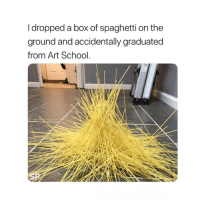 School, Spaghetti, and Art: I dropped a box of spaghetti on the  ground and accidentally graduated  from Art School. Natural talent 😂