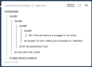 991: i-eat-babies-for-breakfast apple-bees  2,196  mozaikmage  mondo  mondo  991 hello yes there is a swaggie in my house  IM GOING TO CRY I SPELLED FUCKING 911 WRONG  STOP RELBGGOING THIS  CALLIGN THE COPS  #1 highly doubt ur ability to  Source: mondo 991
