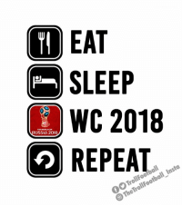 Fifa, Memes, and World Cup: I EAT  SLEEP  WC 2018  2 REPEAT  FITA WORLD CUP  RUSSIA 2018  TheTrollFootball_Insta My routine this FIFA #WorldCup https://t.co/jIz9rGFr8H