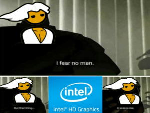 Intel, Fear, and Yes: I fear no man.  intel  Intel HD Graphics  But that thing  it scares me Yes i dont have a graphics card .i play on integrated graphics