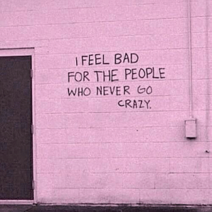 Bad, Crazy, and Never: I FEEL BAD  FOR THE PEOPLE  WHO NEVER GO  CRAZY.