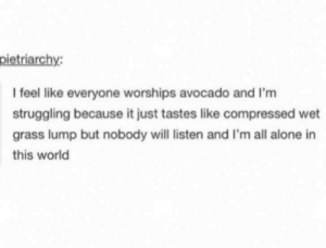 lump: I feel like everyone worships avocado and I'm  struggling because it just tastes like compressed wet  grass lump but nobody will listen and I'm all alone in  this world