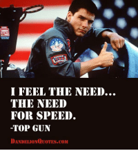RT @MoviezQuote: https://t.co/s08J6royf0: I FEEL THE NEED...  THE NEED  FOR SPEED.  TOP GUN  DANDELIONO UOTES.coM RT @MoviezQuote: https://t.co/s08J6royf0