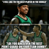 """Somebody drug test the midget before Schroder destroys him again this year smh. Marcus 🐐 Smart > IT NBA NBAMemes BostonCeltics IsaiahThomas MarcusSmart: """"I FEELLIKEIM THE BESTPLAYER IN THE WORLD  @PERSOURCES  """"LOLYOU AINTEVEN  THE BEST  POINT GUARD ON YOURTEAMDUMBY"""" Somebody drug test the midget before Schroder destroys him again this year smh. Marcus 🐐 Smart > IT NBA NBAMemes BostonCeltics IsaiahThomas MarcusSmart"""